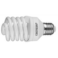 "Энергосберегающая лампа СВЕТОЗАР ""КОМПАКТ""спираль,цоколь E27(стандарт),Т2,теплый белый свет(2700 К),10000час,25Вт(125) 44452-25_z01"