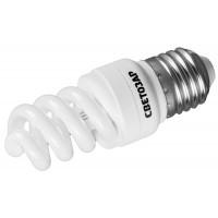"Энергосберегающая лампа СВЕТОЗАР ""КОМПАКТ"" спираль,цоколь E27(стандарт),Т2,яркий белый свет(4000 К), 10000час, 9Вт(45) 44454-09_z01"