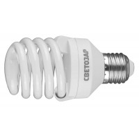 "Энергосберегающая лампа СВЕТОЗАР ""КОМПАКТ"" спираль,цоколь E27(стандарт),Т2,яркий белый свет(4000 К),10000час,20Вт(100) 44454-20_z01"