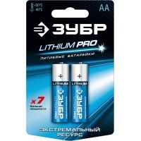 """Батарейка ЗУБР """"Lithium PRO"""", литиевая Li-FeS2, """"AA"""", 1,5 В, 2шт 59202-2C"""