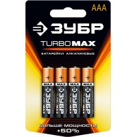"Батарейка ЗУБР ""TURBO MAX"" щелочная (алкалиновая), тип AAA, 1,5В, 4шт на карточке 59203-4C"