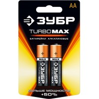 "Батарейка ЗУБР ""TURBO MAX"" щелочная (алкалиновая), тип AA, 1,5В, 2шт на карточке 59206-2C"