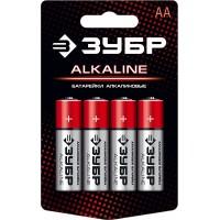 "Батарейка ""ЗУБР"" ""ALCALINE"" щелочная (алкалиновая), ""AA"", 1,5В, 4шт 59223-4C"